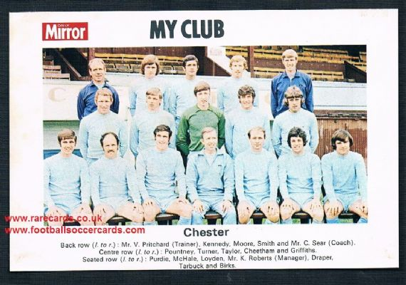 1970 My Club Daily Mirror postcard-size card Chester